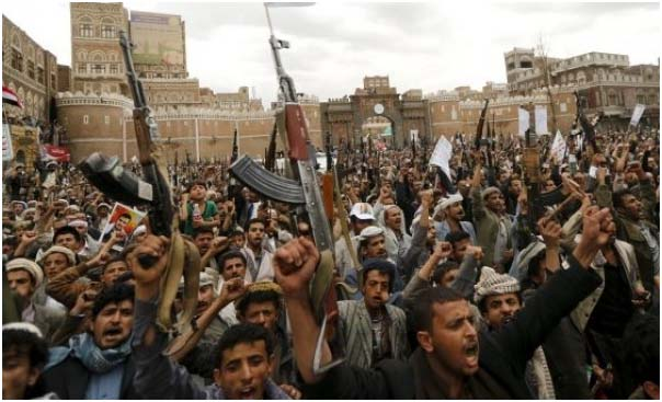 Manifestation  à Sanaa contre les bombardements saoudiens